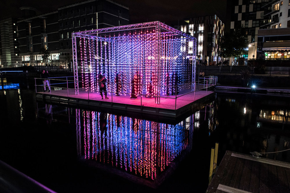 Light Night Leeds Festival:  'Light Water, Dark Sky' an immersive, floating, light installation by renowned international artists Squidsoup set to the track 'Unicorn' by the esteemed electronic musician Four Tet. Find out more...