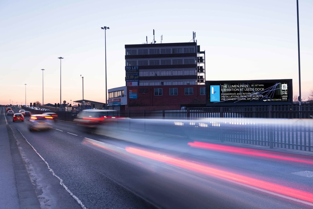 We designed a digital ad, and secured free space, for giant 8Outdoor digital screen on the main road into Leeds.