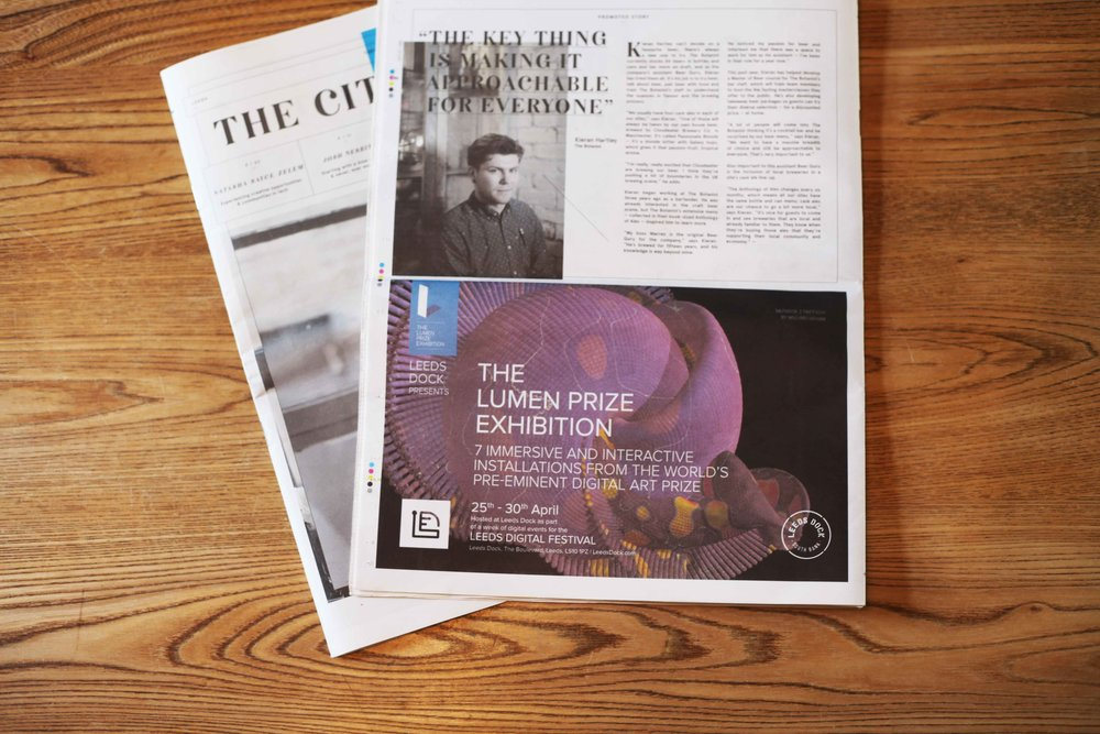 We designed an ad, and secured free space, for the City Talking publication.