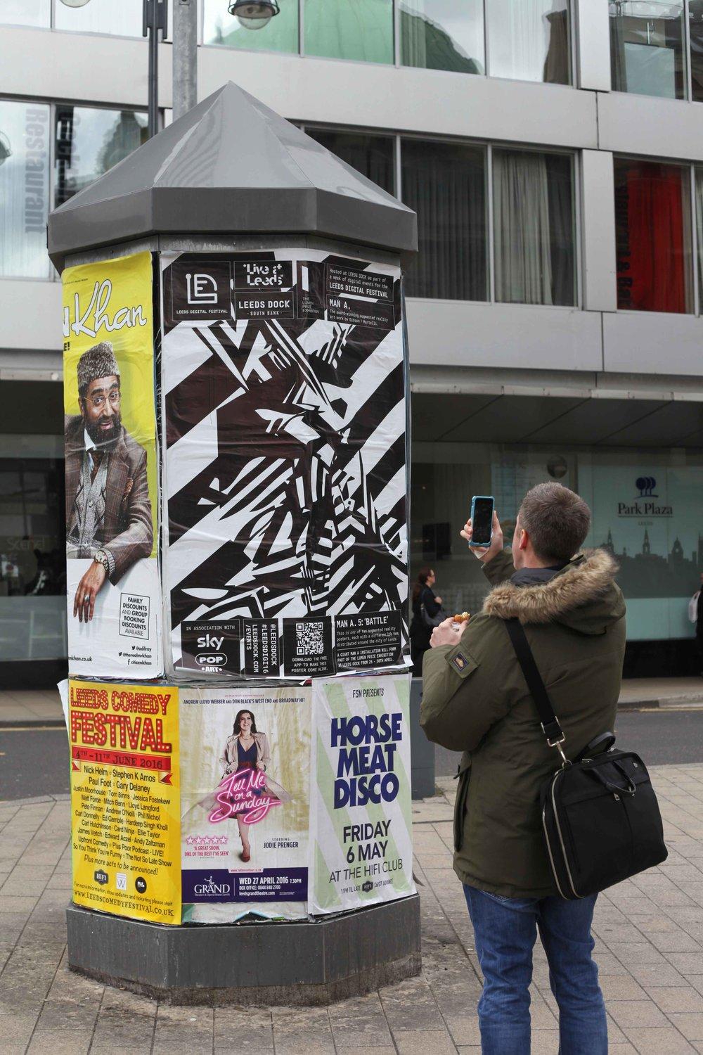 Unique variations of 'MAN-A' featured on large format posters promoting the Leeds Digital Festival / Lumen Prize Exhibition.