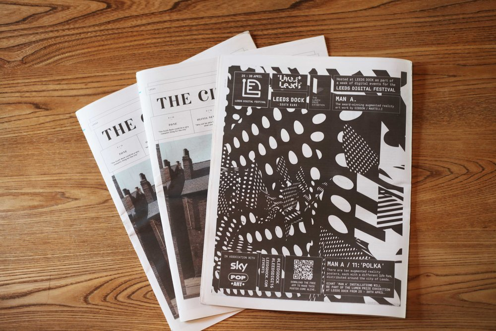 Leeds' cultural publication, The City talking, featured a full page unique variation of the 'MAN-A' artwork.
