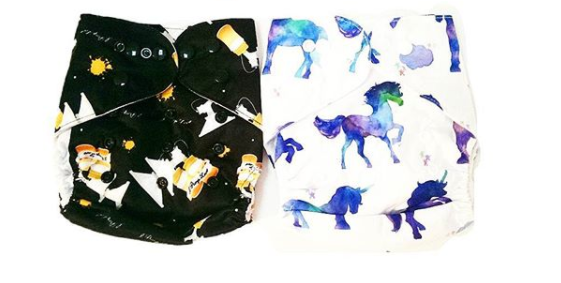 The first two designs in Mala's line of cloth diapers.