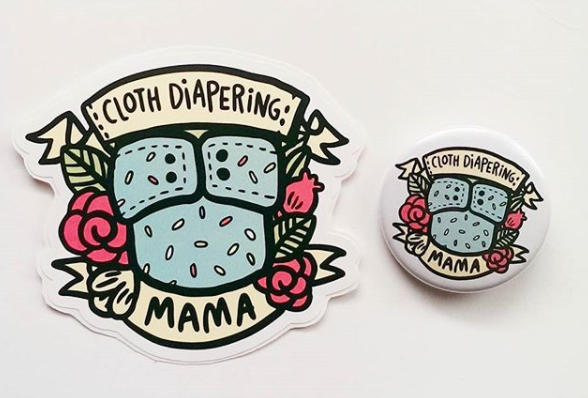 The cute cloth diapering mama pins and stickers that Mala designed and recently added to her shop.