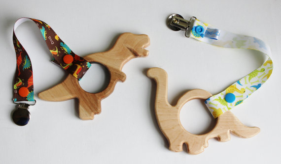 Wooden dinosaur teether