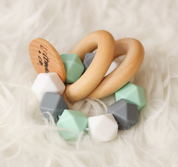 Wooden and silicone teether