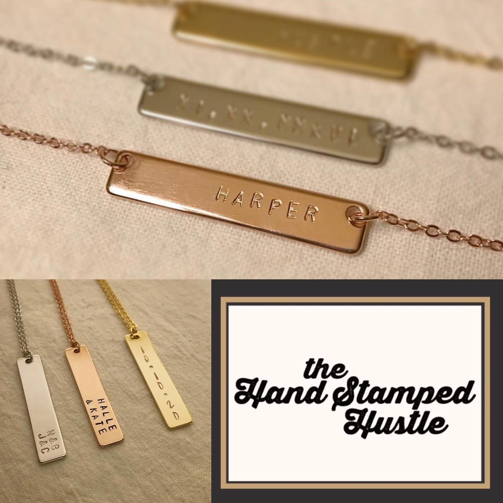 Kelsey Thompson of The HaNdstamped hustle: I'm a single mama who works full time in the education field and runs this hustle on the side. Hand Stamped Hustle was born when I came up with an idea for the *PERFECT* gift…but I couldn't find a quality (or affordable) personalized necklace, so I took things into my own hands and stamped it out! I offer quality, custom hand stamped necklaces at an affordable price – necklaces are 16k gold/silver plated and start at $26. They come in two styles (bar & pendant) and three colors (gold, rose, or silver). Whether you have your kiddos names, a motto, special date, or an inside joke stamped – you'll end up with a one-of-a-kind necklace made with love. A perfect gift for moms/grandmothers, brides/bridesmaids, friends, or yourself!    Connect with kelsey: on    instagram    +    facebook