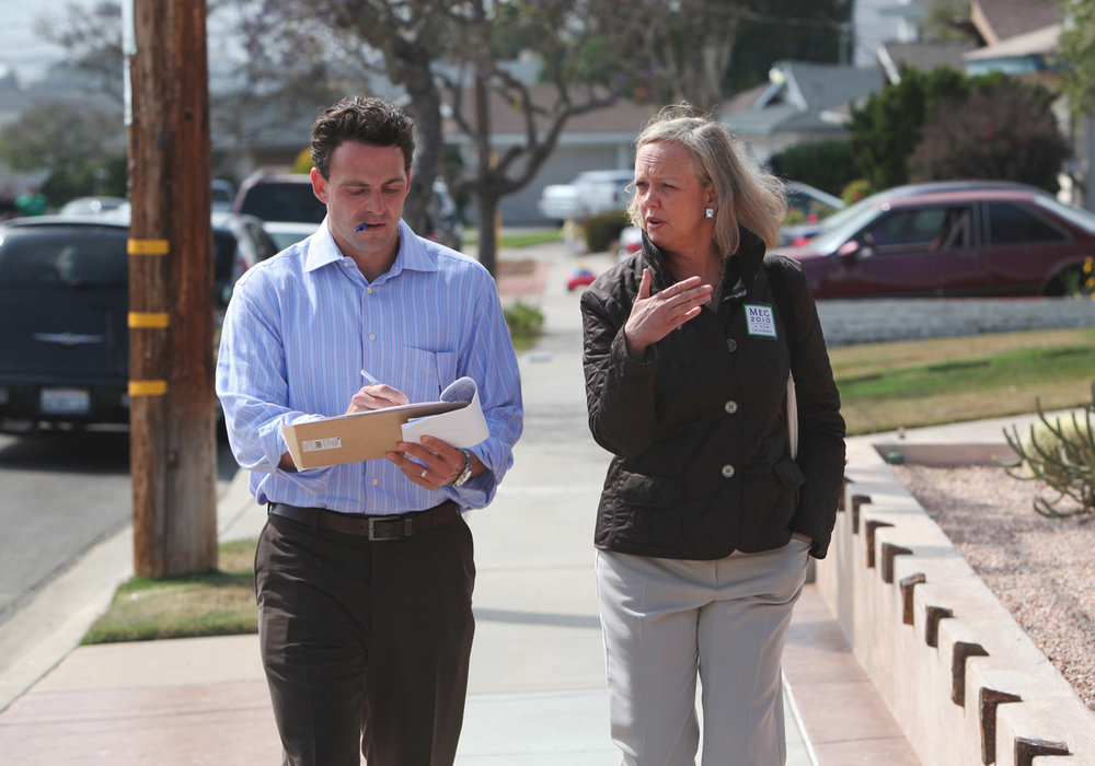 Campaigning against Jerry Brown with Meg Whitman
