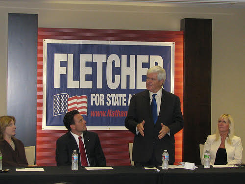Campaigning with former Speaker of the House Newt Gingrich