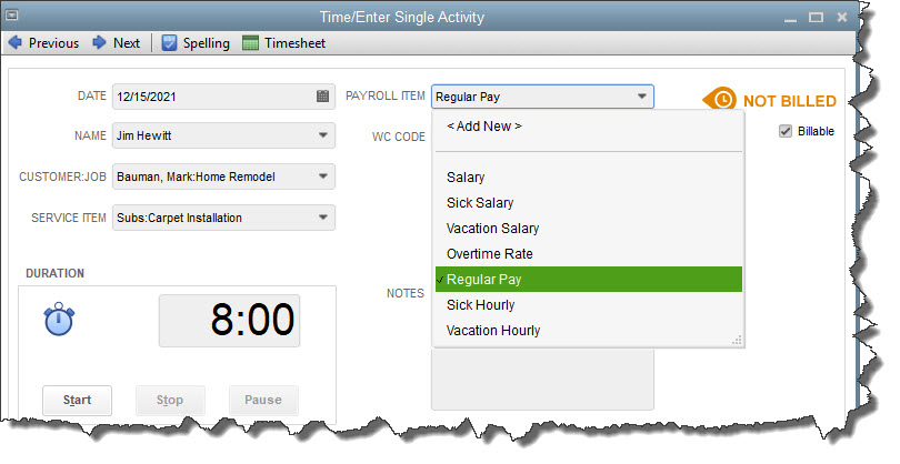 Single-activity work tickets for employee hours are especially useful if you need to set a timer.