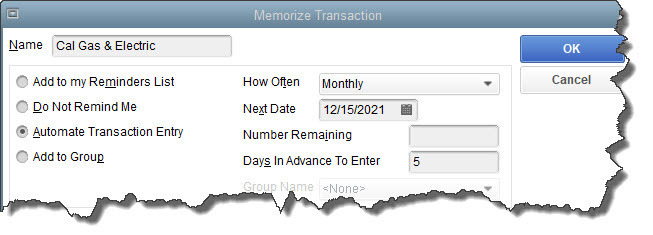 Once you've created a transaction template, you'll have to complete the fields in this window to memorize it correctly.