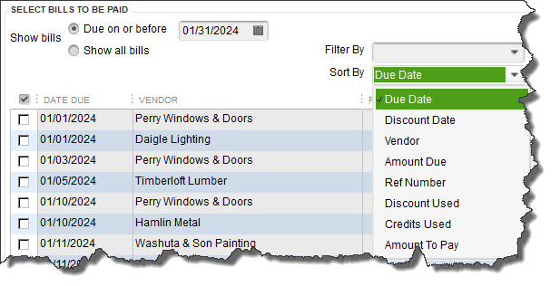 When you click    Pay Bills    on QuickBooks' home page, a screen containing a table like this will open