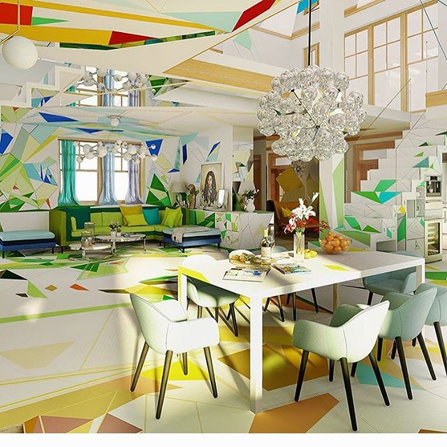 In case you were wondering what life in a kaleidoscope might look like ❤️🧡💛💚💙💜 #WhyPickJustOneColor #DesignTheRainbow #Prismatic ... see more @designmilk 😻
