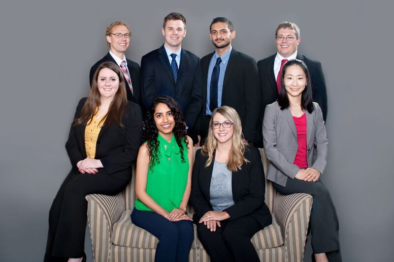 FIRST-YEAR RESIDENTS - Standing (left to right): Mark Henderson, Brendan Brodersen, Ahsan Iftikhar and Tyler Stephenson. seated are Laura Rllson, Ridhima Bijlani, Beth Sanley, and Sion Kim.