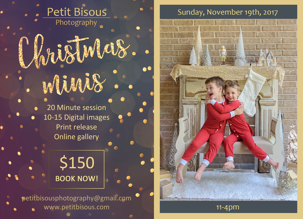 Email us at petitbisousphotography@gmail.com to book a slot between 11-4pm.