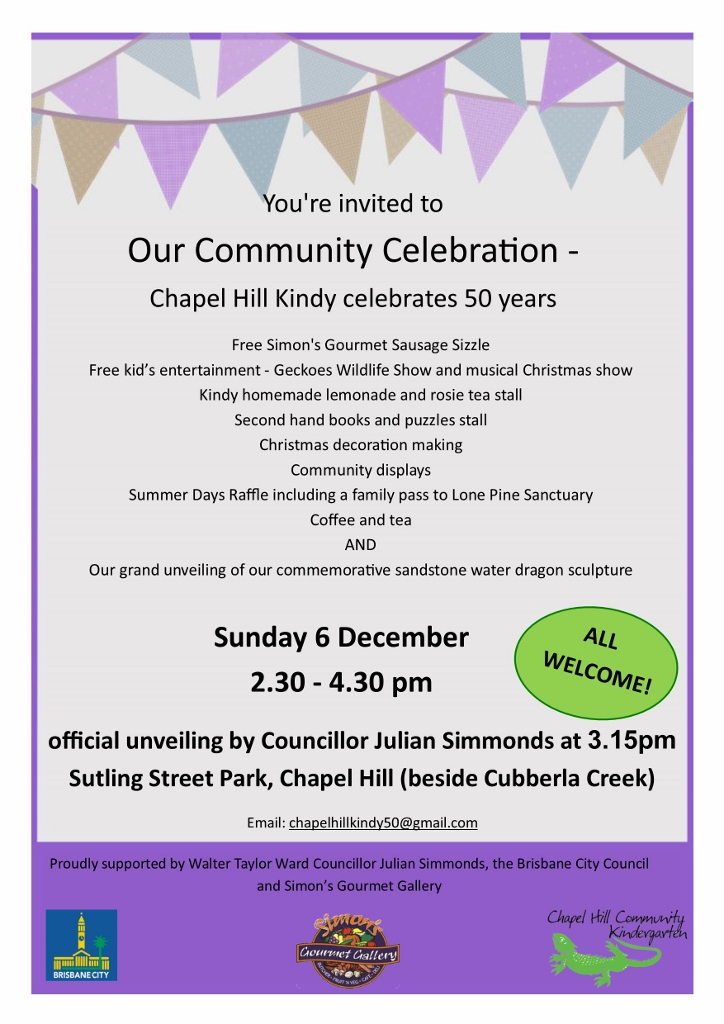 Chapel Hill Kindy 50th Celebration flyer