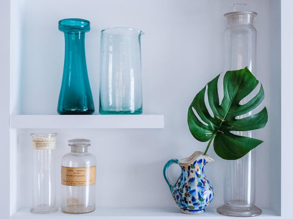 Pops of color on display shelves