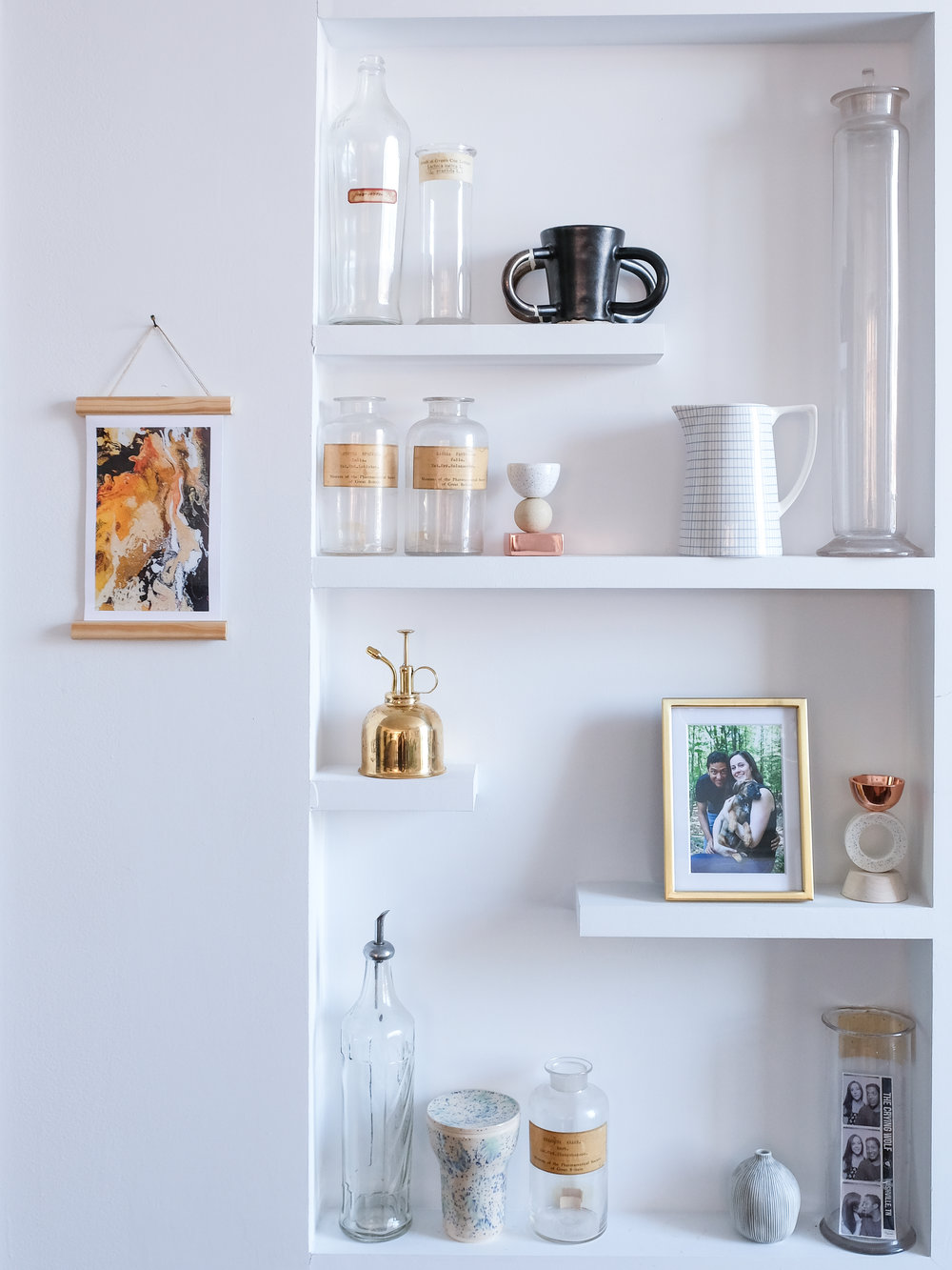 My kitchen display shelves at #BKaptstory. The totem candle holders here are modern accents that look good even without candles in them! ( Small  and  Large )