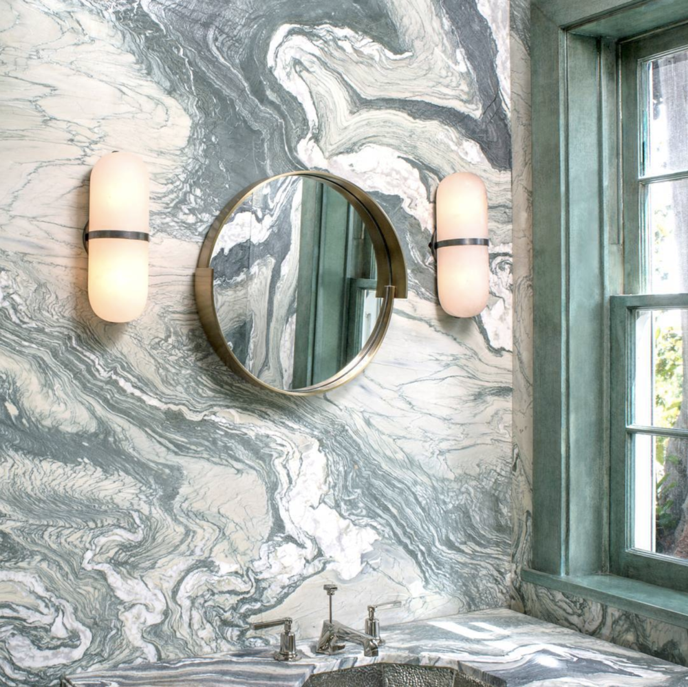 Source . Kelly Wearstler does it again. This bathroom is a DREAM. Hats off to the queen of ultra modern decor.