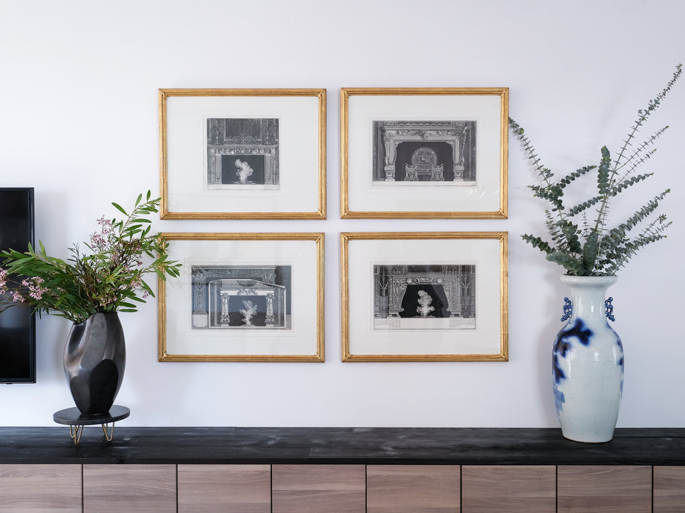 These fireplace prints are some of my favorite pieces in the apartment.