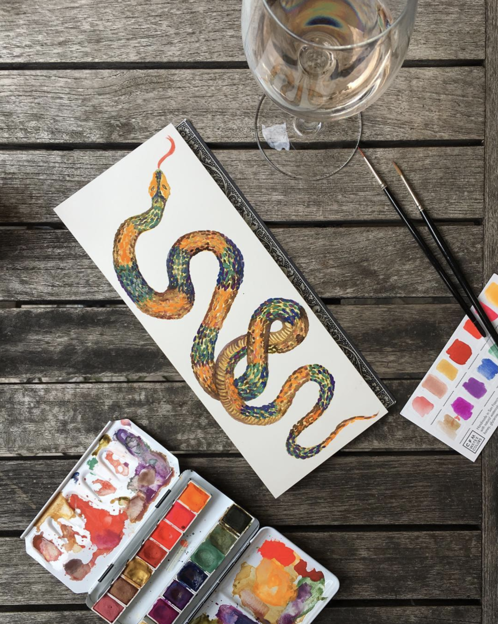 Source . Paulina is an amazingly talented Creative Director and I adore her recent watercolor works of snakes.