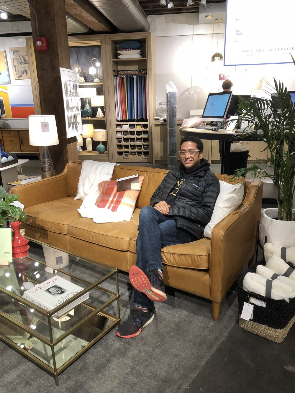 Testing out the    Hamilton sofa    at West Elm DUMBO!