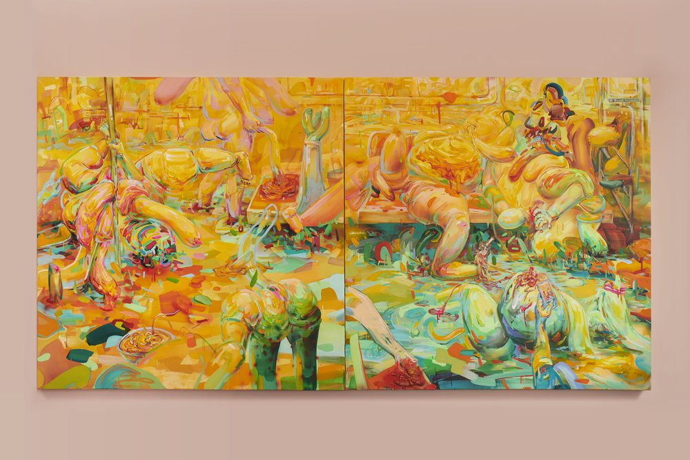 Nudle Party in NYC Subway to G Choi Ave.  Acrylic on canvas, 2018 120  x 60 inches (Diptych)