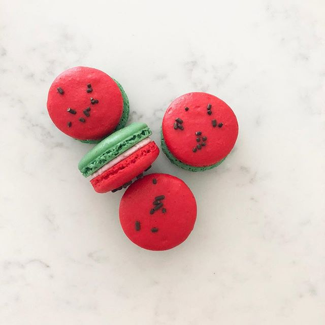 Happy National Watermelon Day! Come celebrate this yummy day with us and our macarons of the month- watermelon! We'll be making them every Tuesday-Saturday through August 🍉 ❤️