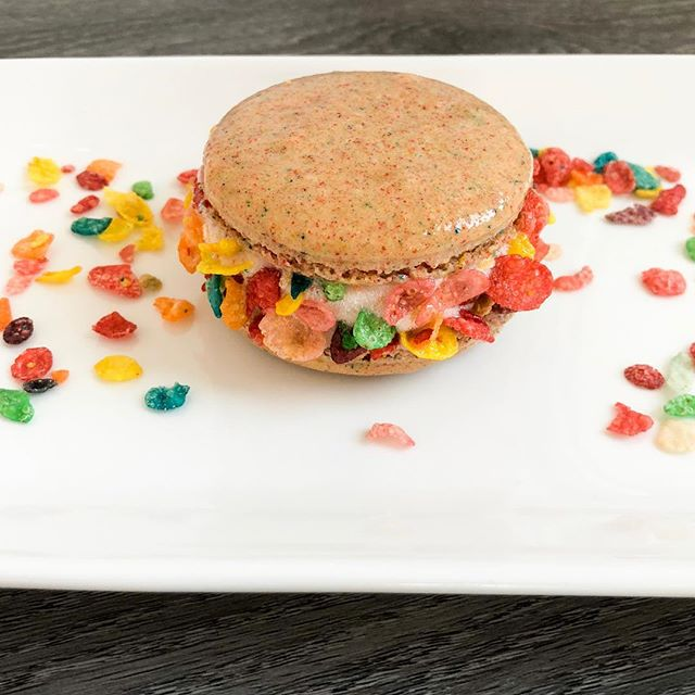 First week of school done? Come grab a celebratory back to school treat tomorrow at the boutique! Fruity pebble french macaron ice cream sandwiches... who could resist? 🤤