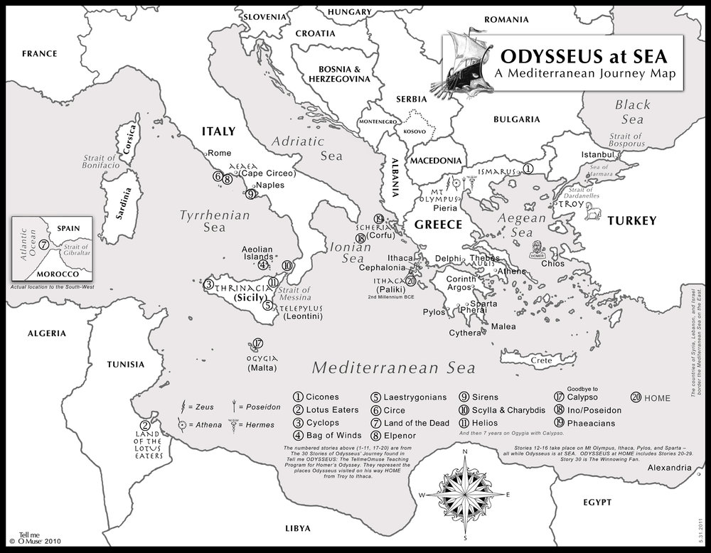 ODYSSEUS at SEA: A Mediterranean Journey Map