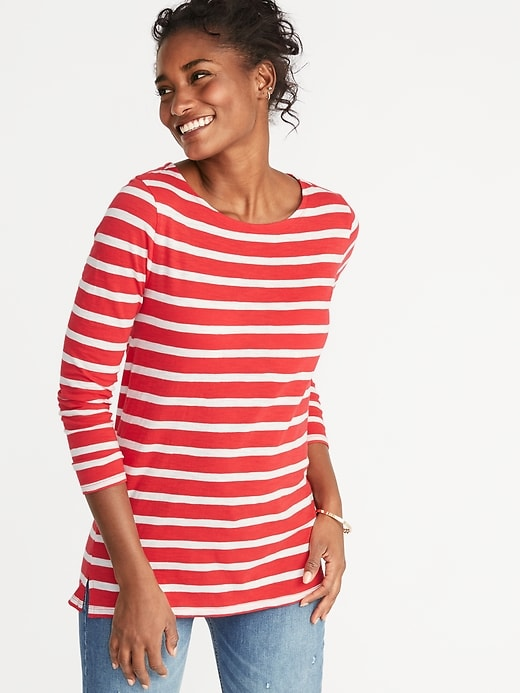Stripes are too much. The neckline is nice! © Old Navy