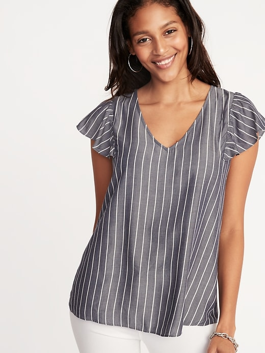 Flutter sleeves are cute, but not for headshots! The stripes are too much too. © Old Navy