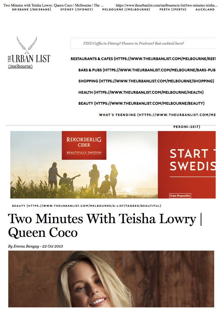 Two Minutes with Teisha Lowry- Queen Coco | Melbourne | The Urban List.jpg