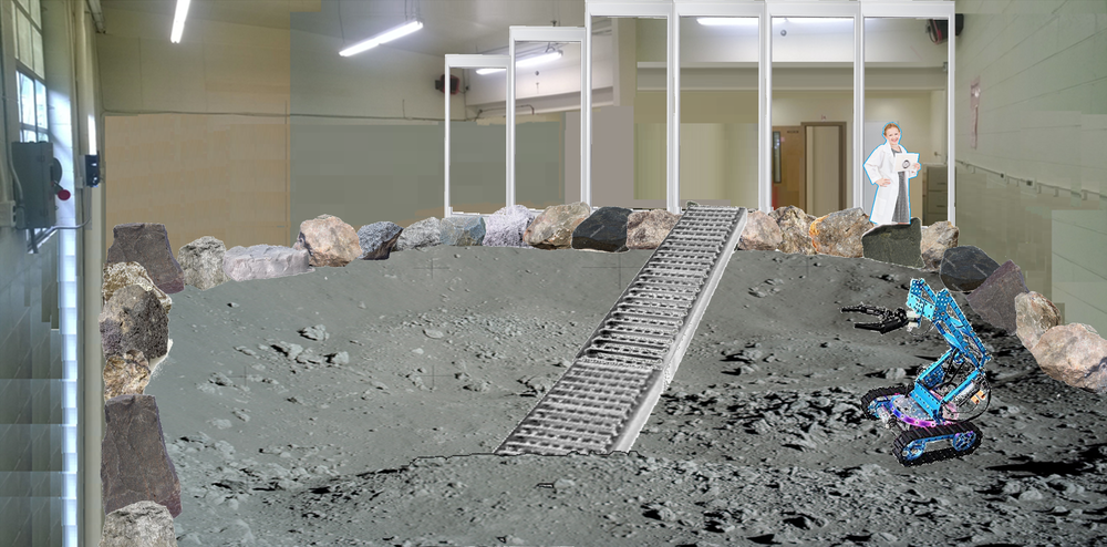 - Concept image of the Lunar Surface Simulation Lab used during its design phase. The lab is currently available for use while its construction is completed.