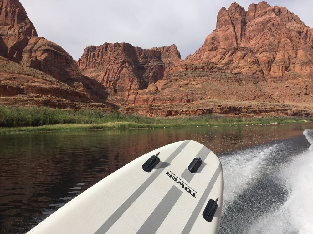 The view from the back haul upstream to Glen Canyon Dam