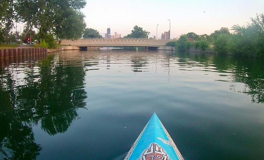 Paddling from Diversey Harbor towards the South Lagoon