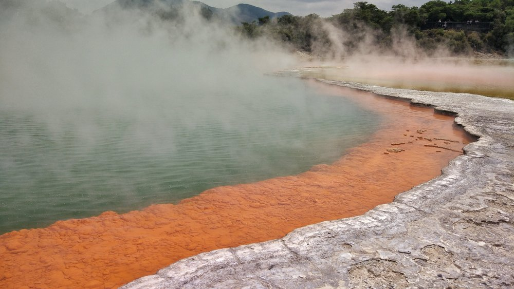 Famous champagne pool in Wai-o-tapu, Rotorura, New Zealand