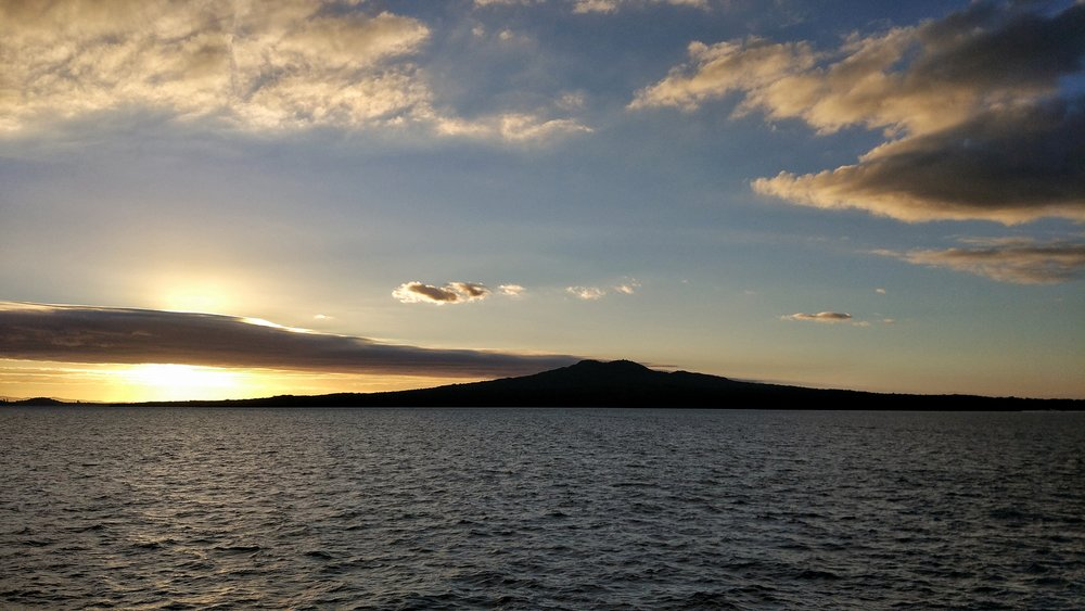 Rangitoto Island looking pretty at sunset
