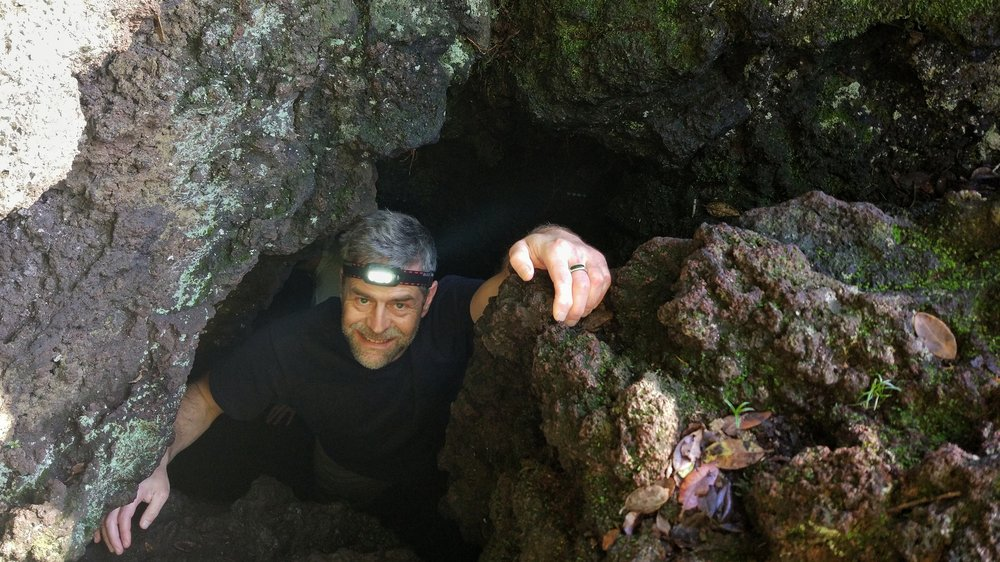 Chris emerging from the lava cave