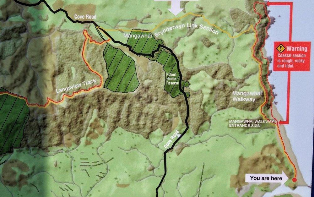 Cliff walk map: Mangawhai walkway is the red broken line