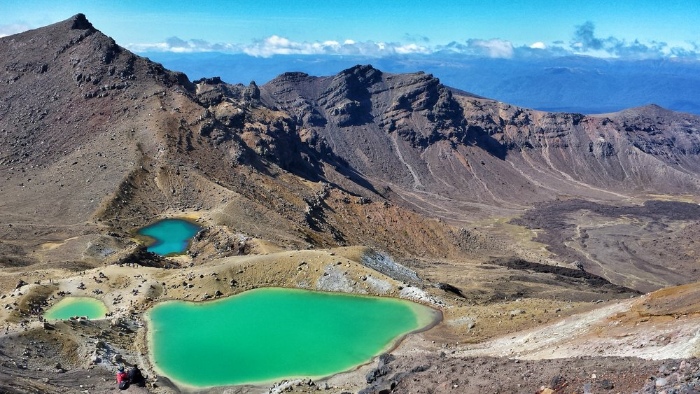 The most famous picture of the Tongariro Crossing: View towards Emerald Lakes