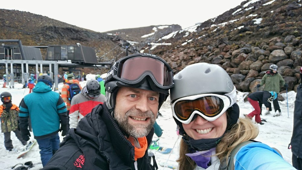 Spring skiing on Mt. Ruapehu (Turoa ski field)