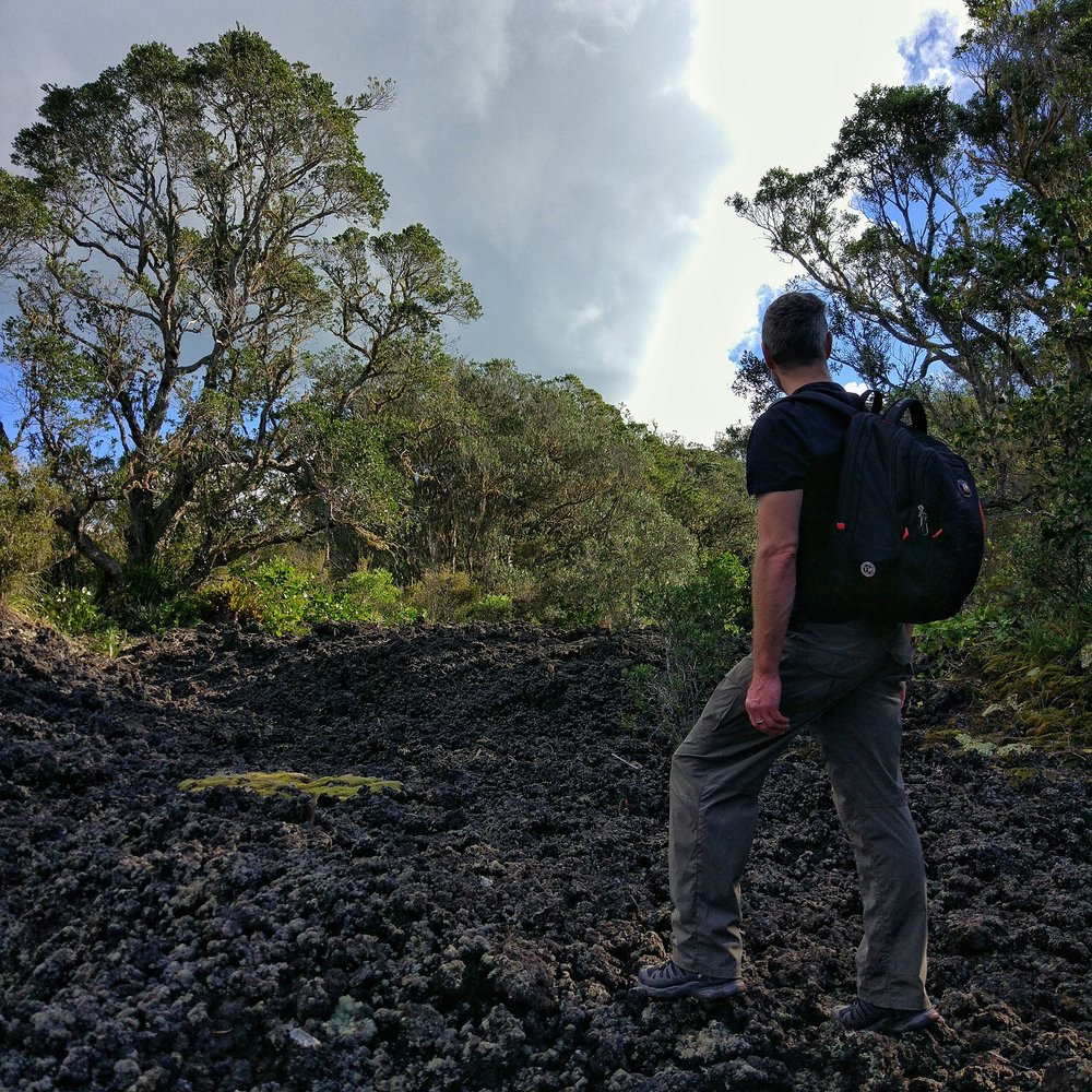 Chris marvelling at the lava flows on rangitoto island