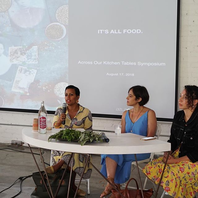 #tbt snapshot of @azlavegan @artbites_maite @cocinahouse in conversation about art & 🥘 🌯🌽🥕#aoktsymposium