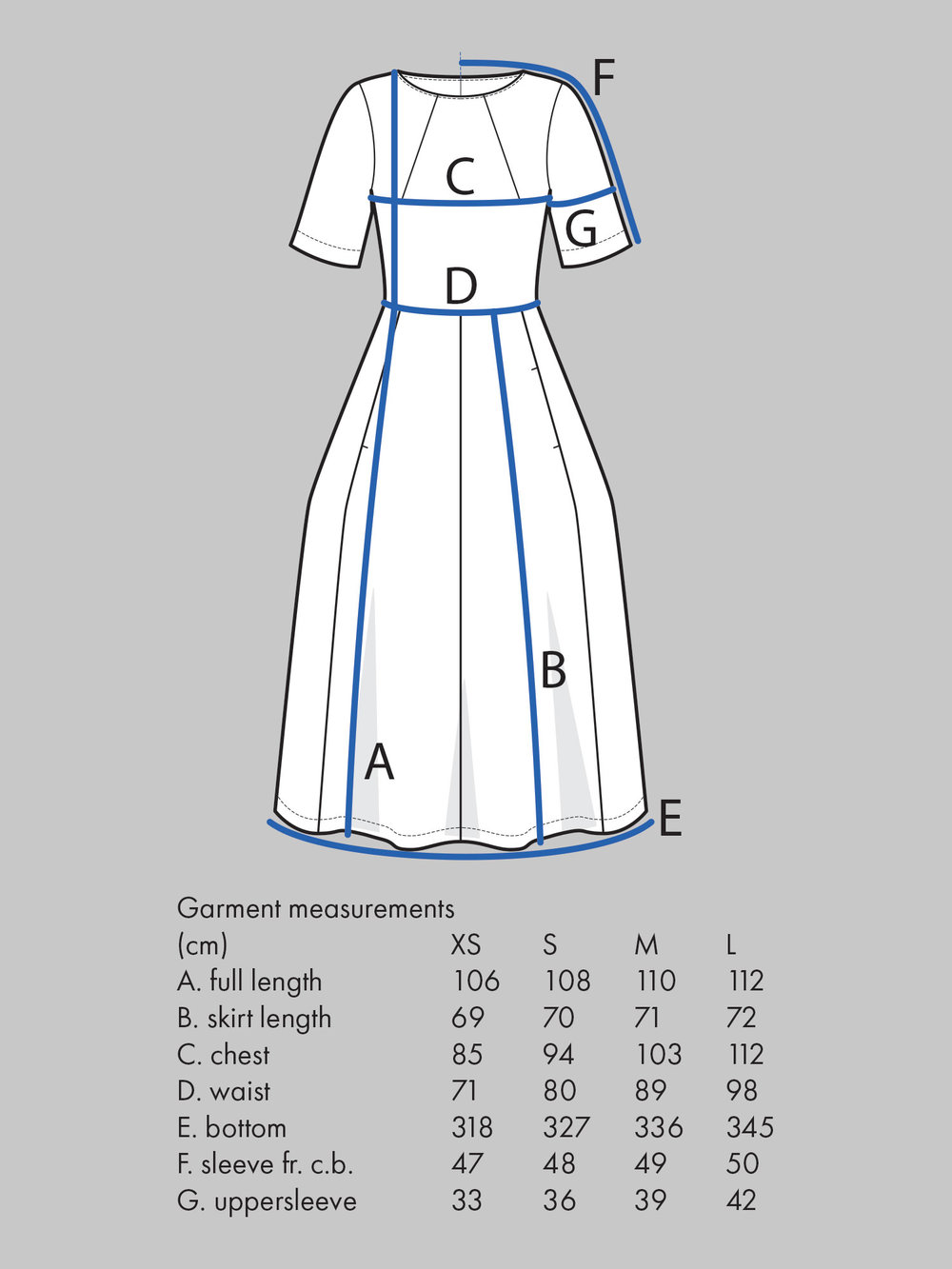 TULIP DRESS Use bust measurement for sizing.