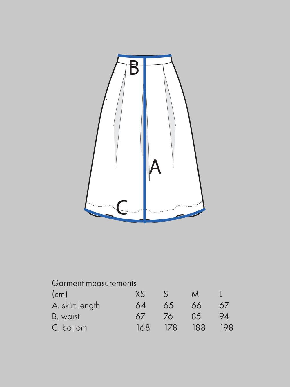 THREE PLEAT SKIRT Use waist measurement for sizing.