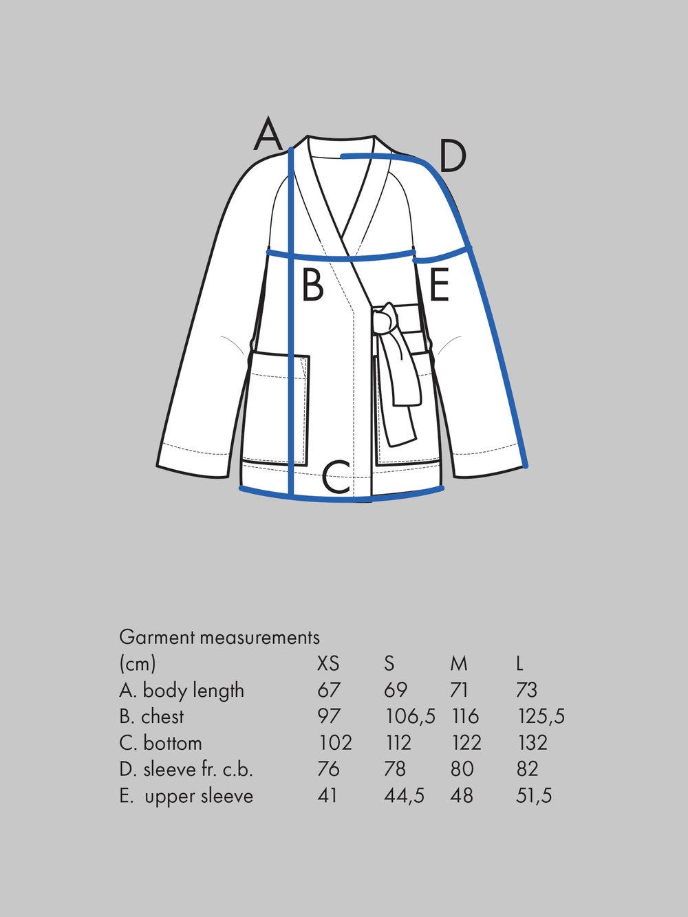 KIMONO JACKET Use bust measurement for sizing.