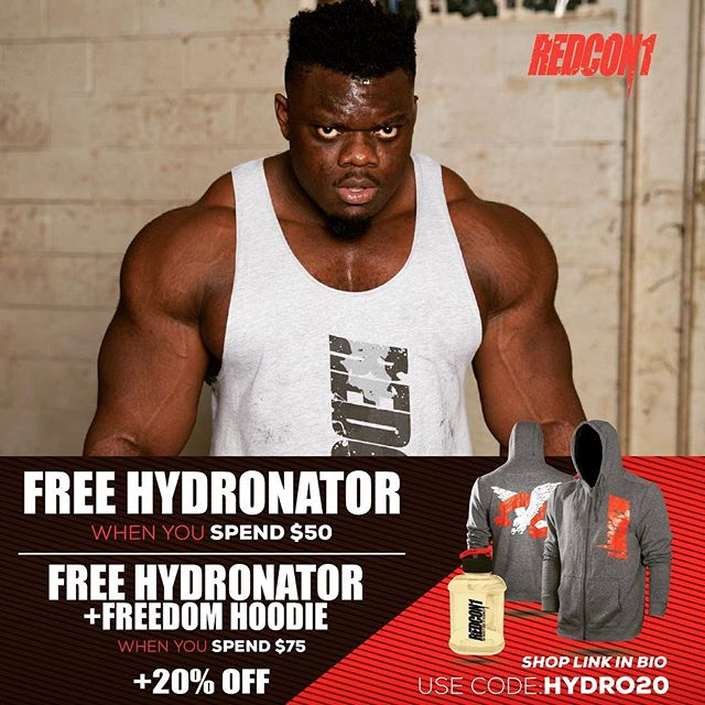 🚨FREE GOODIES ALERT 🚨  This weekend only , spend $50+ you'll receive the brand new yellow HYDRONATOR ! Spend $75 or more you get the HYDRONATOR and the exclusive FREEDOM HOODIE.  Use code HYDRO20 to save 20% off your entire Oder .  Head over to my story or Redcon1.com 💥Link in bio 💥
