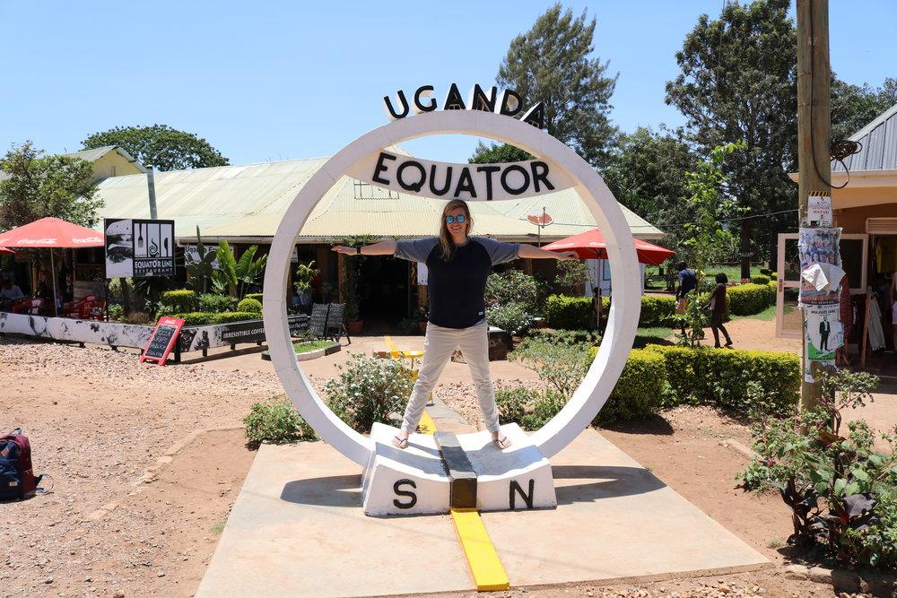 Francesca keeping busy on the pre field trial trip to Uganda.