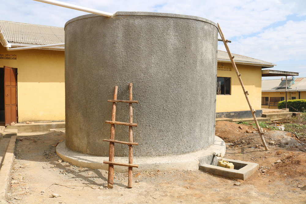 The rainwater harvesting tank that Blue Tap has funded at the Development Studies Centre (DSC).