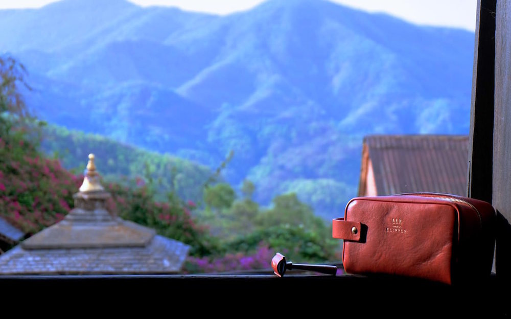A view of Nepal and the Tuscan wash bag by Thomas Clipper, a luxury wash bag for every adventure